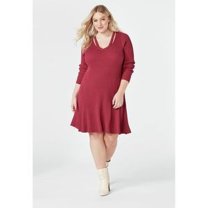 Justfab Red Cutout Fit & Flare Sweater Dress-1X